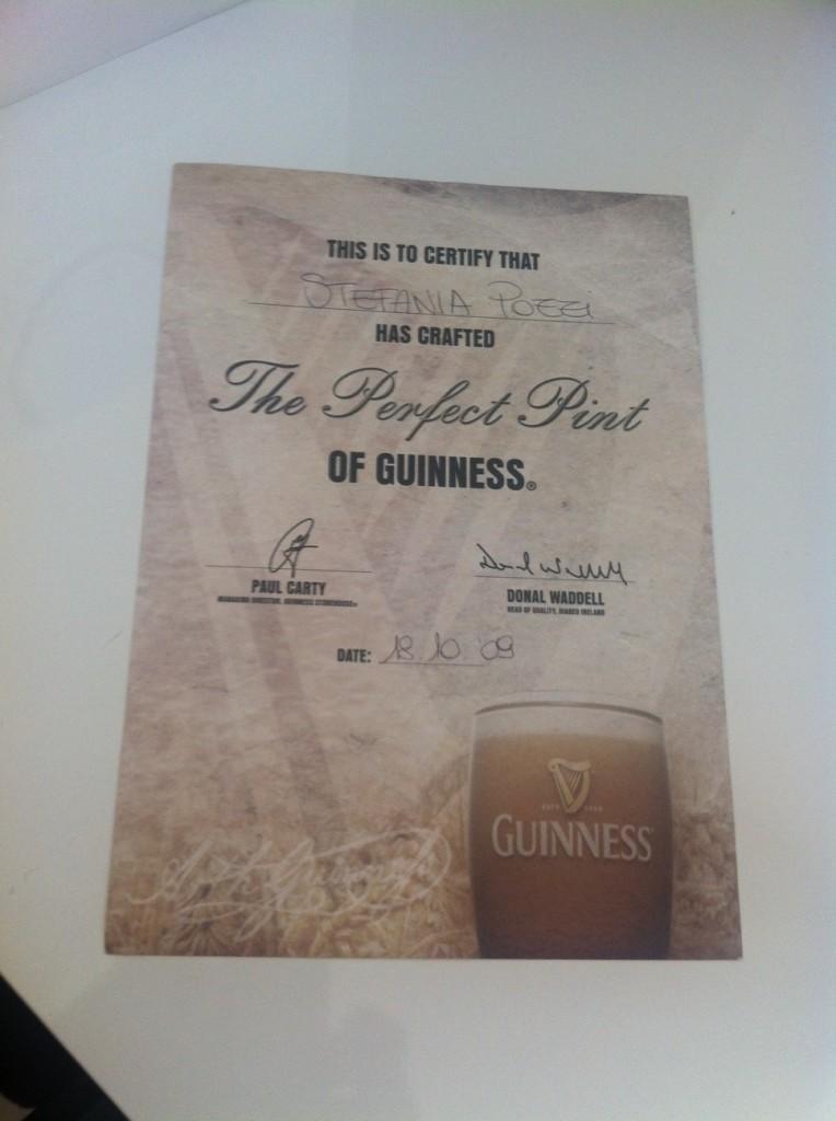 Il mio diploma di spillatrice Guinness