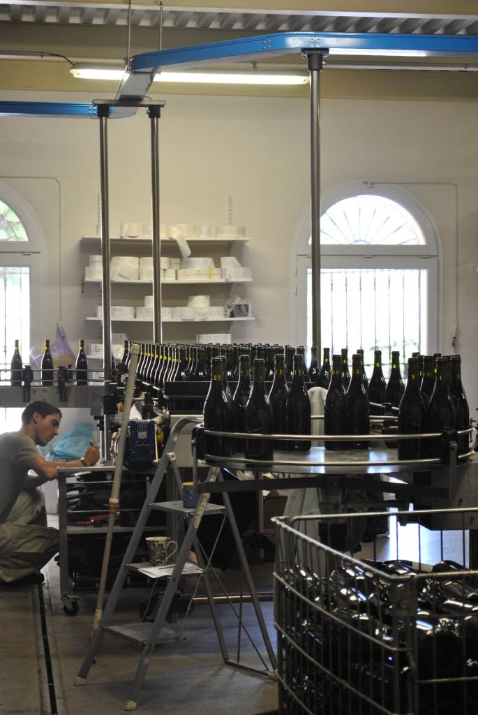 Uno dei processi di produzione in una cantina di Chateauneuf du Pape