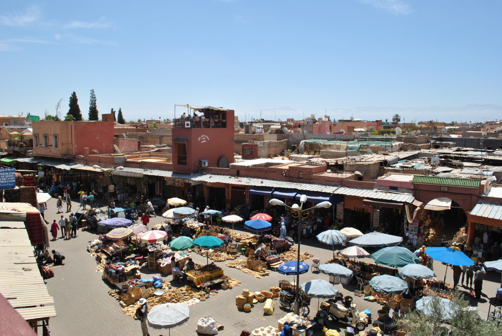 Vista da Cafe des Epices a Marrakech