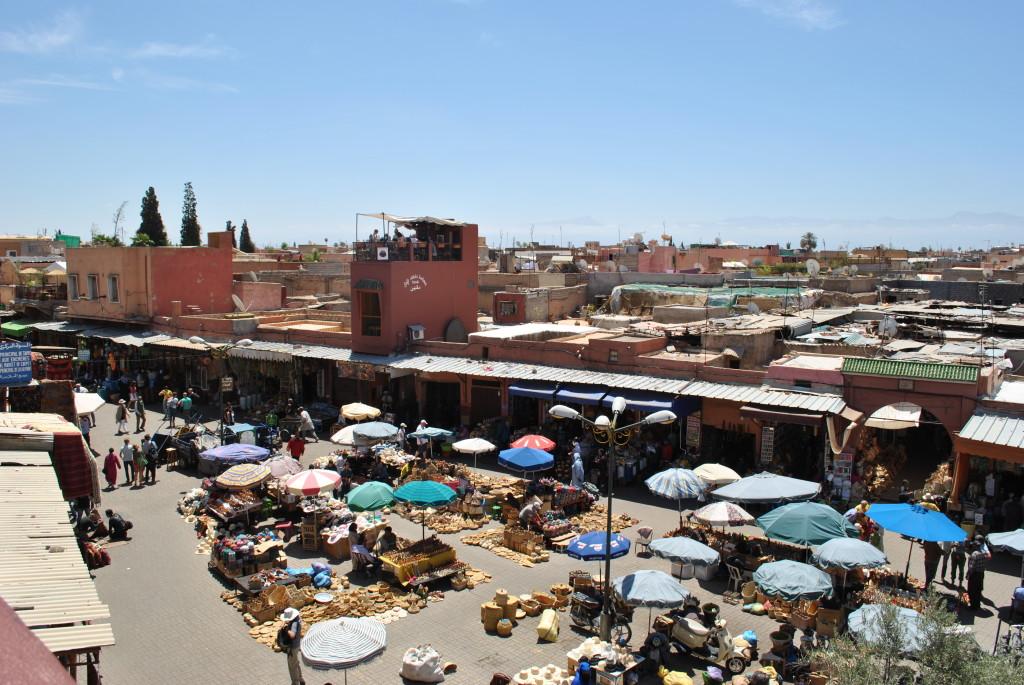 Vista da Cafe des Epices a Marrakech