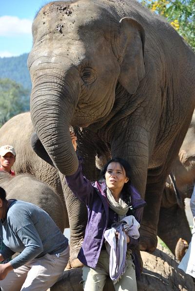 La fondatrice del parco assieme agli elefanti