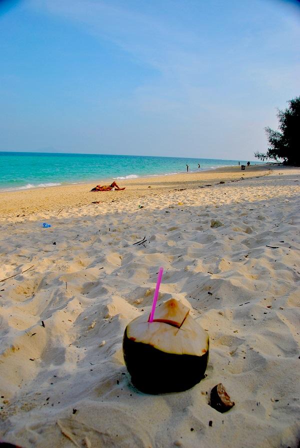 Bere il latte di cocco in spiaggia