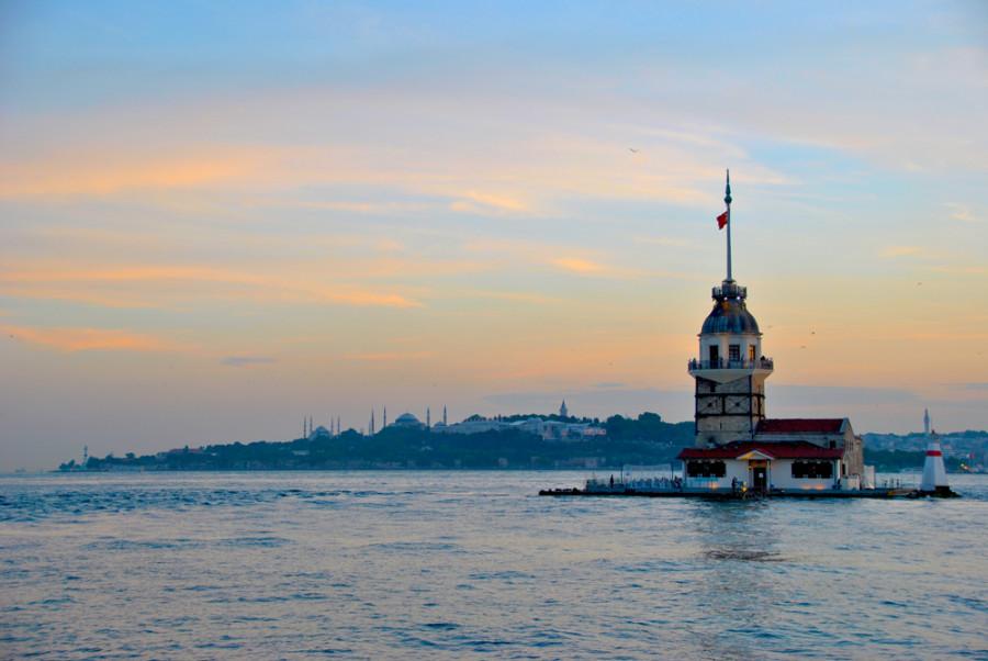 Inizio di tramonto ad Istanbul
