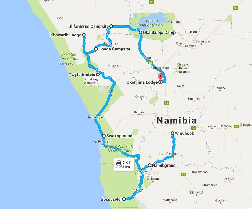 itinerario namibia tappe
